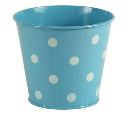 Kovový obal s puntíky, modrý, modrá, 14 x 12 cm