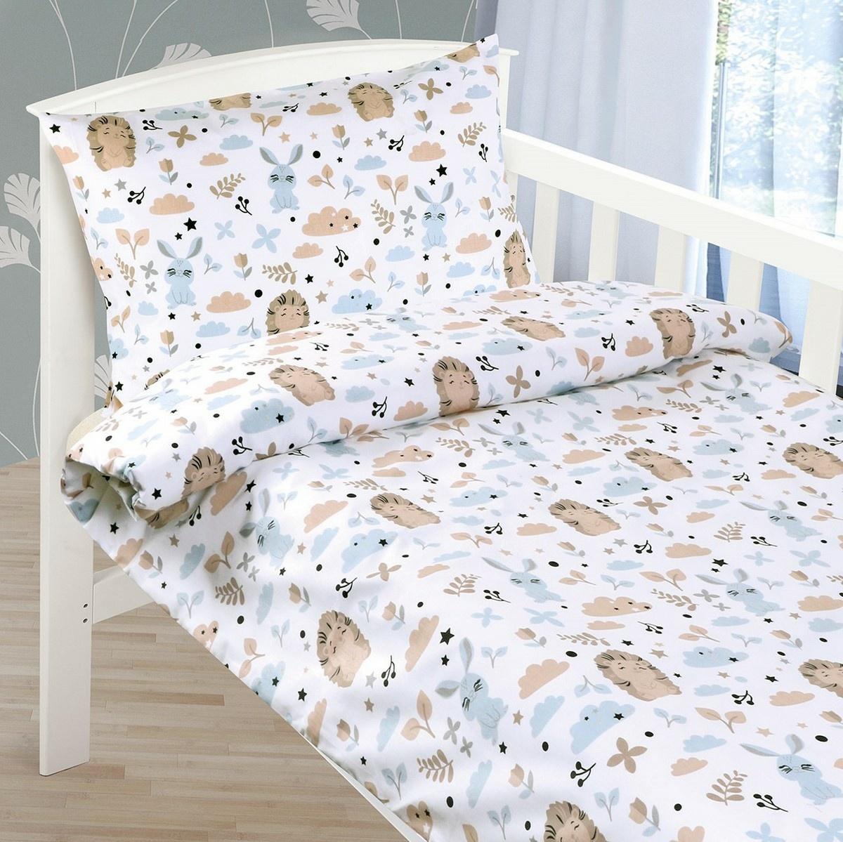 Bellatex Detské bavlnené obliečky do postieľky Ježko, 90 x 135 cm, 45 x 60 cm