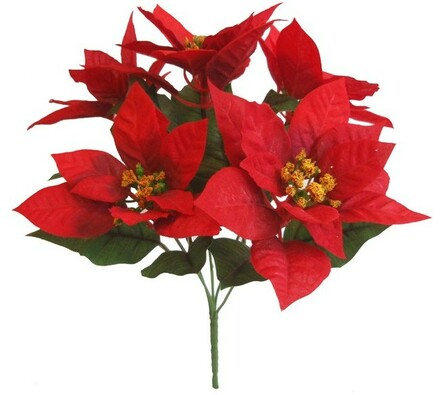 Umělá kytice poinsettia 5 květů 3 ks