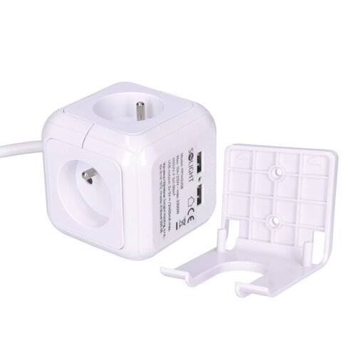Solight PP145USB Predlžovací prívod Kocka so 4 zásuvkami a USB, biela