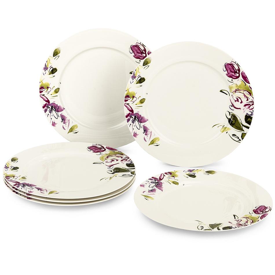 Fotografie Verso 6dílná sada plochých talířů Clasico Floral, 27 cm
