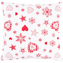Vánoční povlak na polštářek Vločka a srdce červená, 40 x 40 cm