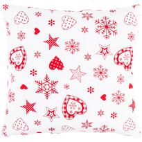 Vianočná obliečka na vankúšik Vločka a srdce červená, 40 x 40 cm