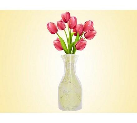 Váza skládací žlutobílá, žlutá, 19 x 28 cm