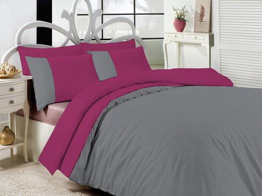 Saténové povlečení Exkluziv růžová a šedá, 140 x 200 cm, 70 x 90 cm