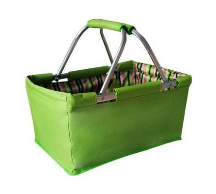 Nákupní skladací košík zelený 29 l, zelená