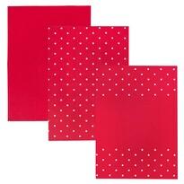 Ścierka kuchenna Kropka czerwony, 50 x 70 cm, zestaw 3 szt.