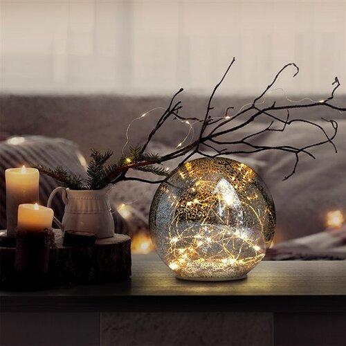 Solight LED sklenená vianočná guľa, 20LED, medená štruktúra, 3x AAA, 1V230