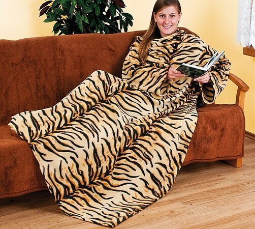 Deka s rukávy tygr, 4Home, 140 x 190 cm, béžová + hnědá, 140 x 190 cm