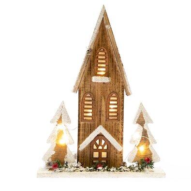 Dřevěný domeček s osvětlením, 27 x 36 x 7 cm