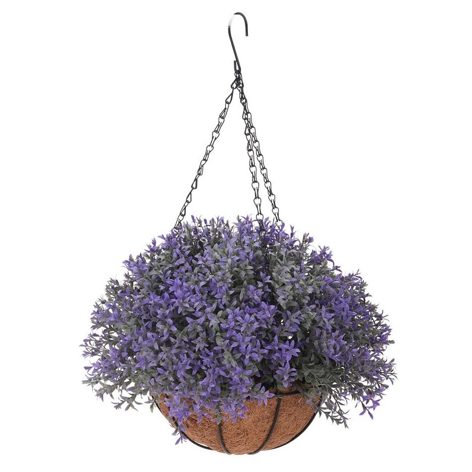 Umělá květina v závěsném květináči Mirabel, tmavě fialová