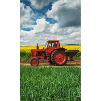 Piros traktoros gyermek törölköző, 30 x 50 cm