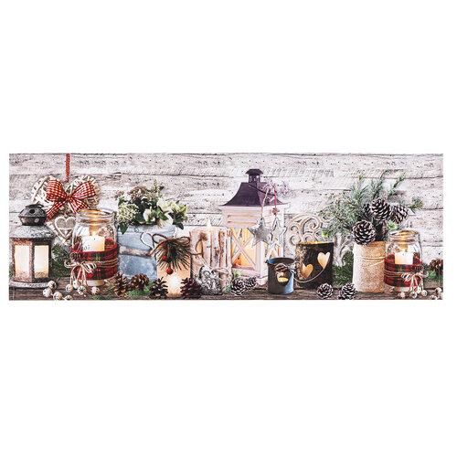 Vánoční běhoun Svícny, 30 x 90 cm