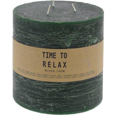 Dekorativní svíčka Time to relax zelená, 14 cm