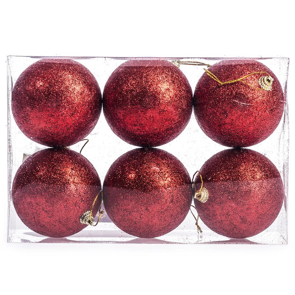 HTH Vánoční koule 6 ks červená
