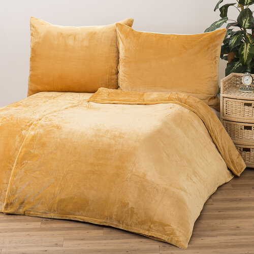 Obliečky Mikroplyš medová, 140 x 200 cm, 70 x 90 cm