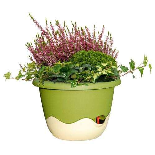 Plastia Önöntöző virágtartó Mareta zöld + bézs , 30 cm átmérő
