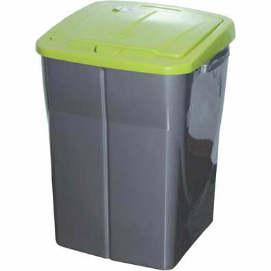 Koš na tříděný odpad 51 x 36 x 36,5 cm, zelené víko, 45 l