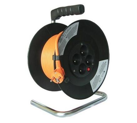 Solight Prodlužovací kabel na bubnu 4 zásuvky délka 25 m oranžový