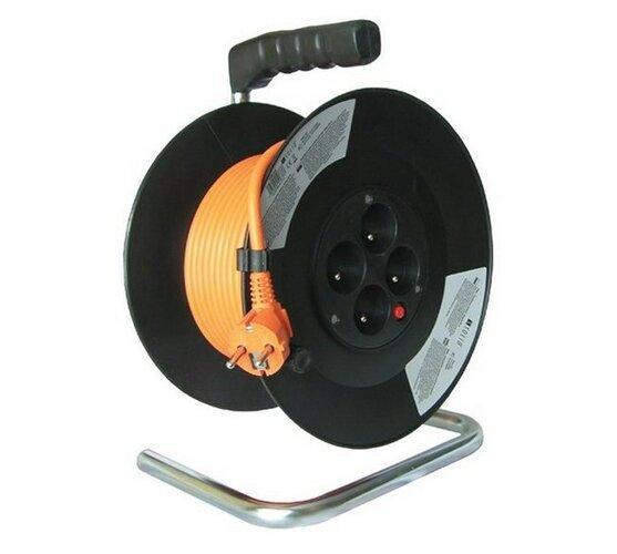 Prodlžovací kabel na bubnu Solight, 4 zásuvky, oranžový, 25 m