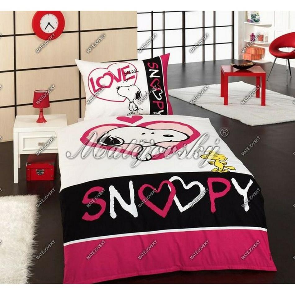 Matějovský Obliečky Snoopy Love bavlna 140x200 70x90