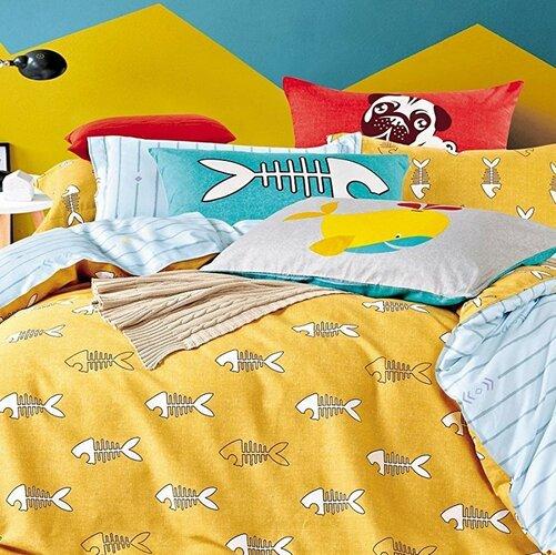 DecoKing Bavlněné povlečení Fishy, 135 x 200 cm, 80 x 80 cm