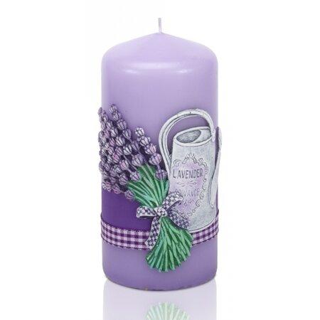 Świeczka zapachowa Lavender garden walec, 6 x 13 cm