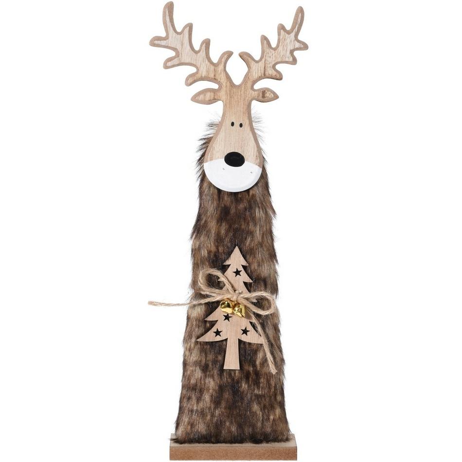 Vianočný drevený Sob Ervín hnedá, 40 cm, 40 cm