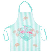 Fartuch kuchenny Flamingi niebieski, 60 x 80 cm