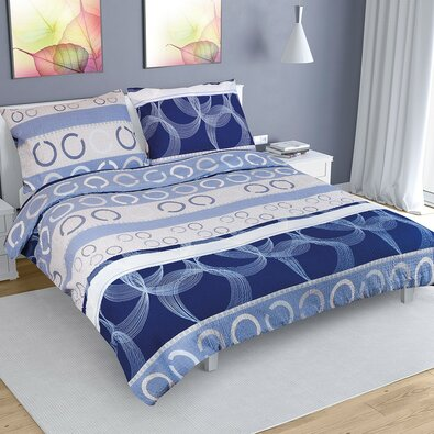 Lenjerie de pat, din crep, Elipsă albastră, 220 x 200 cm, 2 buc. 70 x 90 cm