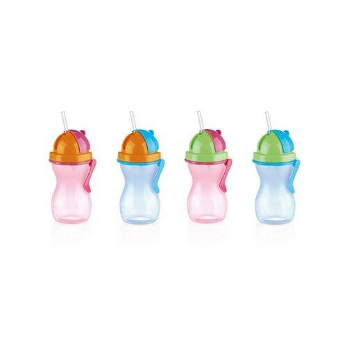 Sticlă de copii Tescoma BAMBINI, cu pai, albastru, 300 ml