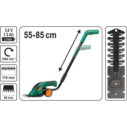 FLO TO-79501 akumulátorové nožnice na trávu s teleskopickou násadou, 3,6 V