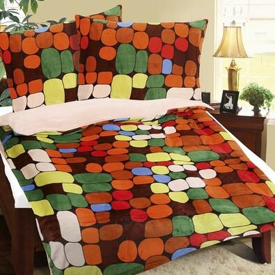 Kövek  mikroflanell ágyneműhuzat színes, 140 x 200 cm, 70 x 90 cm