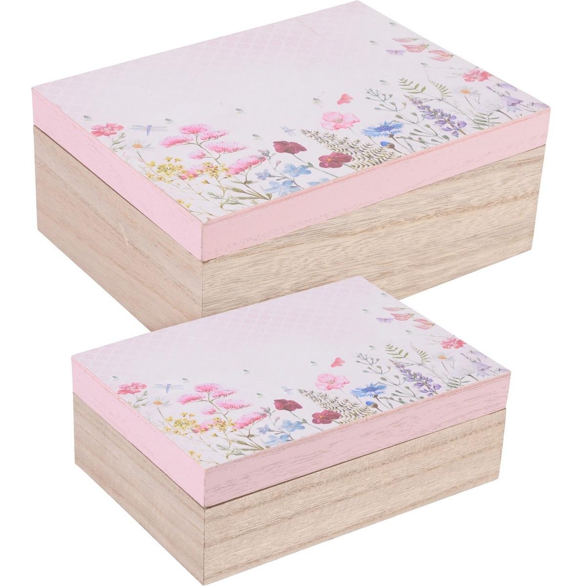 Sada dekoračných box Flower paradise 2 ks, ružová