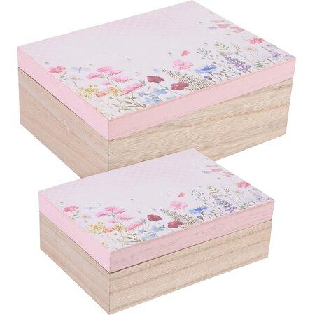 Dekorációs doboz szett Flower paradise, 2 db rózsaszín