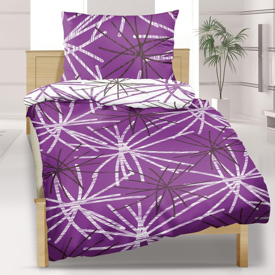 Bellatex bavlnené obliečky Hvězda fialová, 140 x 200 cm, 70 x 90 cm