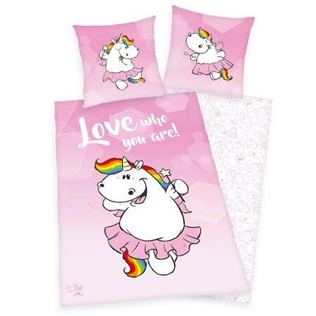 Lenjerie de pat, din bumbac, Pummel Einhorn Love whoyou are!, 140 x 200 cm, 70 x 90 cm