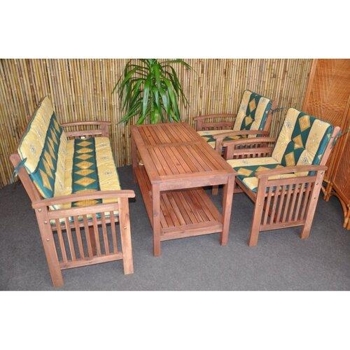 Záhradný nábytok s lavicou, zelená,