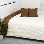Přehoz na postel Doubleface hnědá/krémová, 220 x 240 cm, 2x 40 x 40 cm