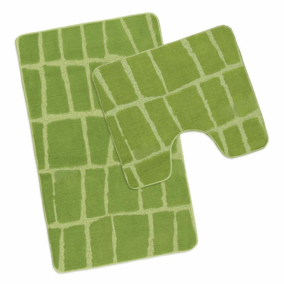 Bellatex Sada koupelnových předložek Avangard Kostka zelená, 50 x 80 cm, 50 x 40 cm