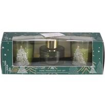 Sada sviečok a difúzora Christmas zelená 3 ks, 19 x 6,5 cm