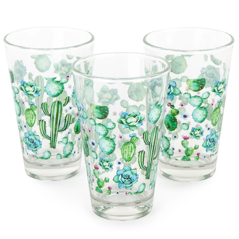 Koopman Sada pohárov Modrý kvet 300 ml, 3 ks