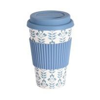Excellent Houseware Bambusowy kubek termiczny 425 ml, niebieski