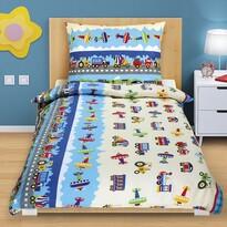 Junior gyermek pamut ágynemű, Repülők és autók, 140 x 200 cm, 70 x 90 cm