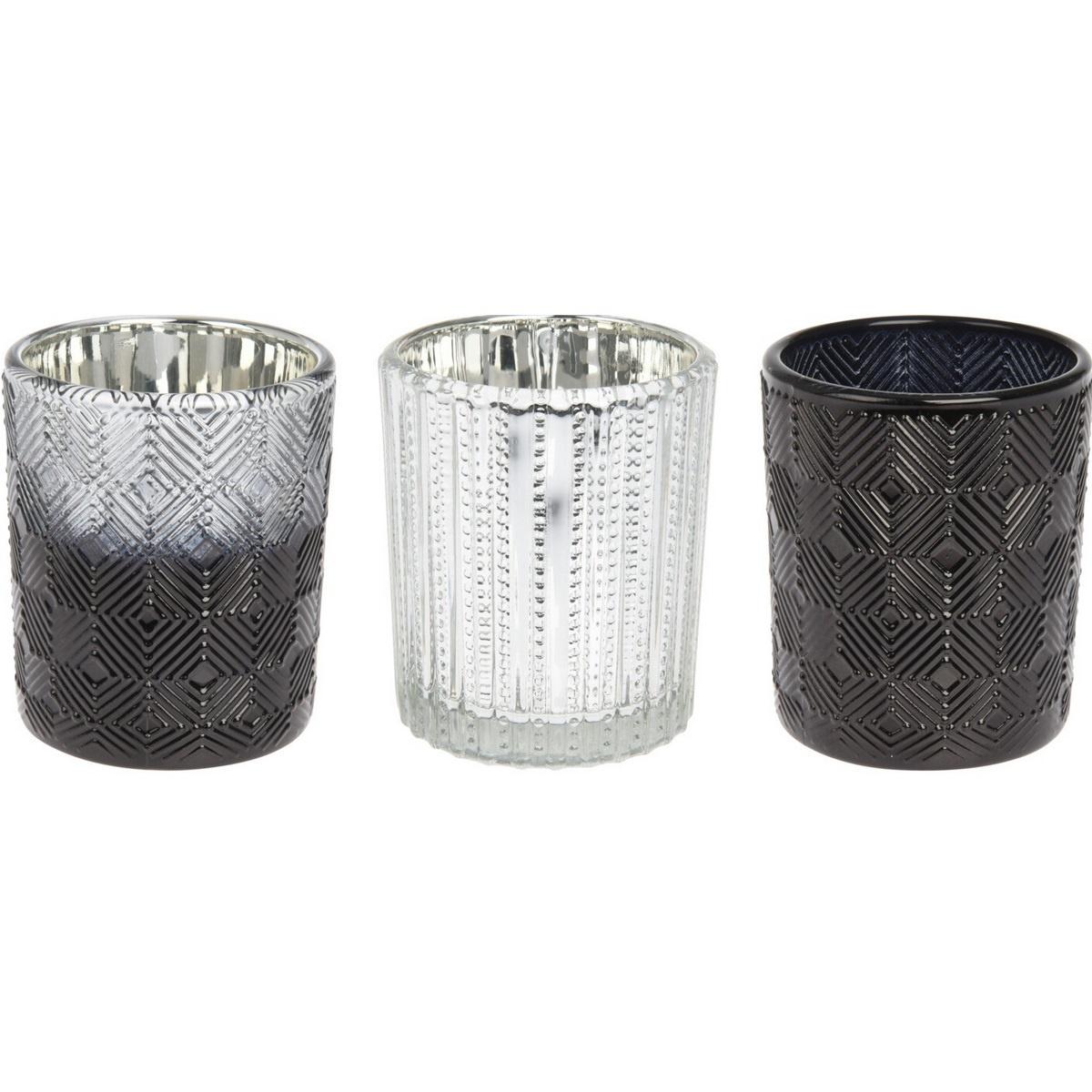 Sada svícnů na čajové svíčky Modern geometric 3 ks, 17 x 5,8 x 8,3 cm