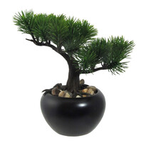 Bonsai artificial Pin, în ghiveci, verde, 19 cm