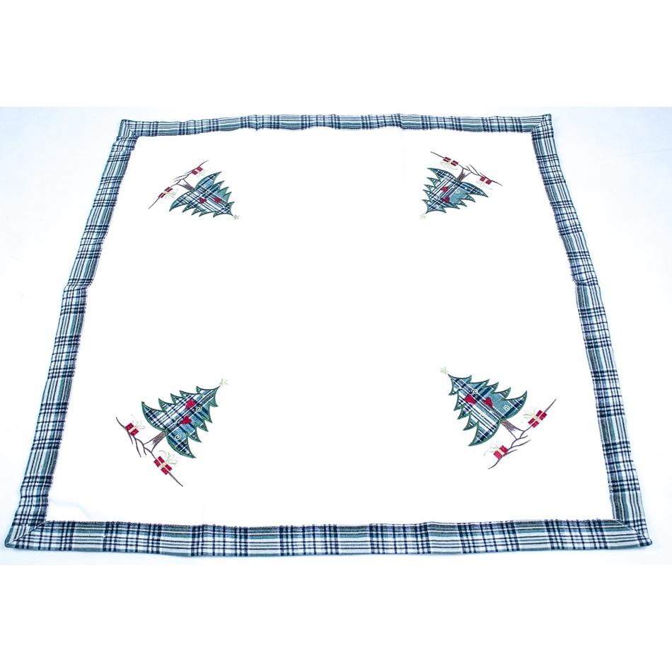 BO-MA Trading Vánoční ubrus Stromečky, 85 x 85 cm
