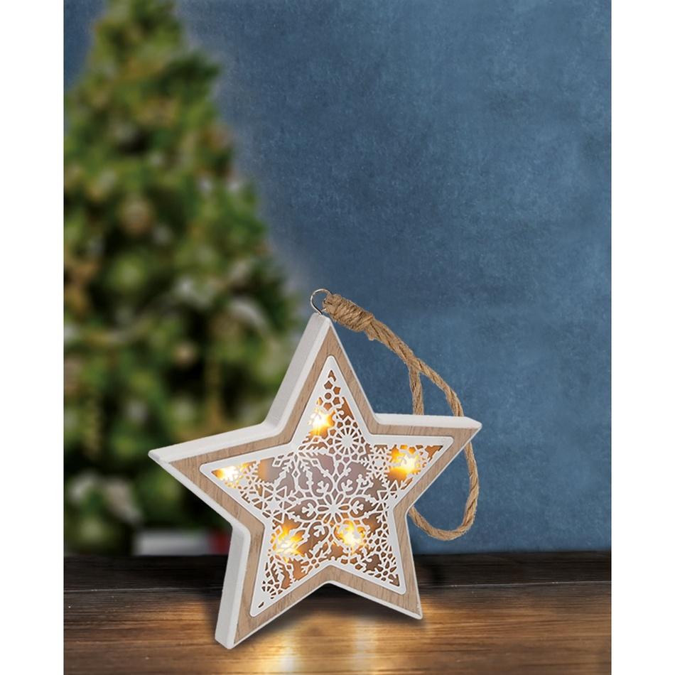 LED vánoční hvězda, dřevěný dekor, 6LED, teplá bílá, 2x AAA 1V45-S