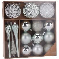 Sada vánočních ozdob Tolentino zeleno-stříbrná, 15 ks