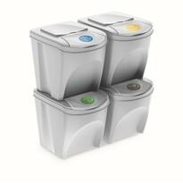 Sortibox Szelektív hulladékgyűjtő kosarak fehér, 25 l, 4 db,